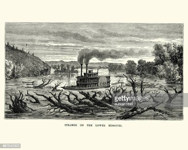 paddle steamer on lower missouri, 19th century - driftwood stock illustrations