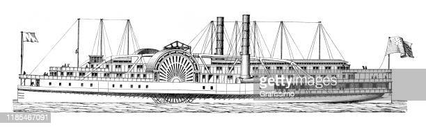paddlesteamer paddle boat on the river 1897 - passenger craft stock illustrations