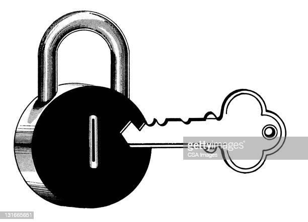 padlock and key - lock stock illustrations
