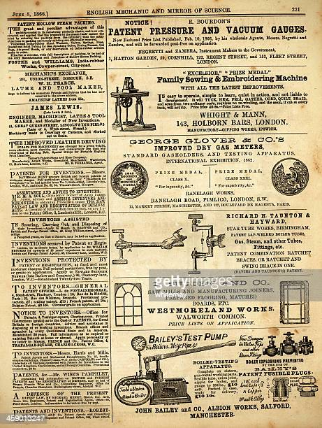 Page of advertisements from 'English Mechanic', 1866