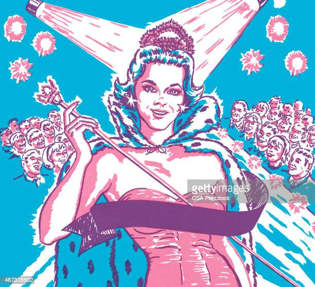 ilustraciones, imágenes clip art, dibujos animados e iconos de stock de certamen de ganador - reina de belleza
