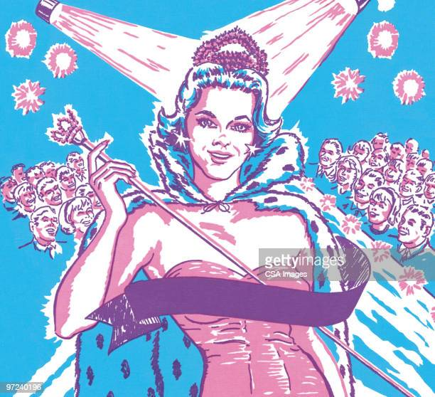 ilustraciones, imágenes clip art, dibujos animados e iconos de stock de pageant winner - reina de belleza