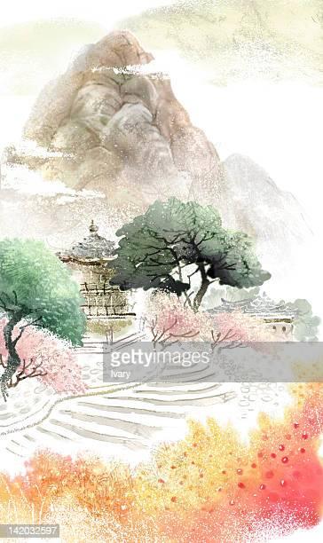 pagoda and mountain - pagoda stock illustrations, clip art, cartoons, & icons