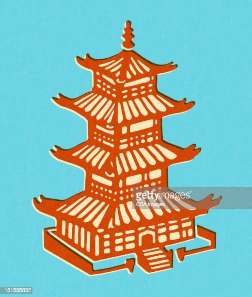 pagoda - pagoda stock illustrations, clip art, cartoons, & icons