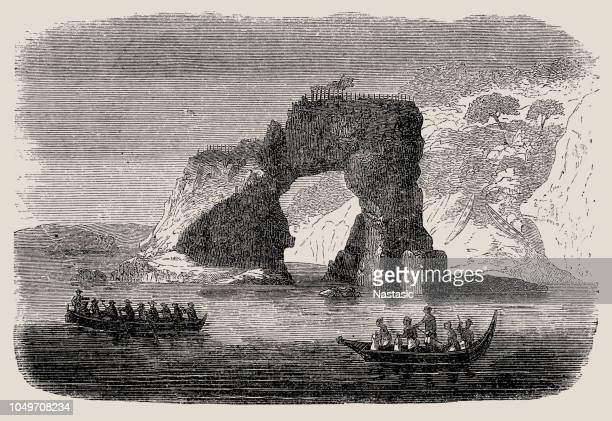 pah or fort on mountain, new zealand - history stock illustrations