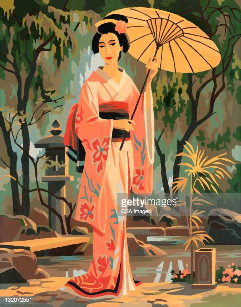paint by number asian woman - geisha stock illustrations, clip art, cartoons, & icons