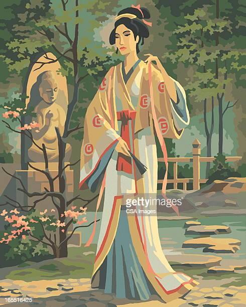 paint by number geisha - geisha stock illustrations, clip art, cartoons, & icons