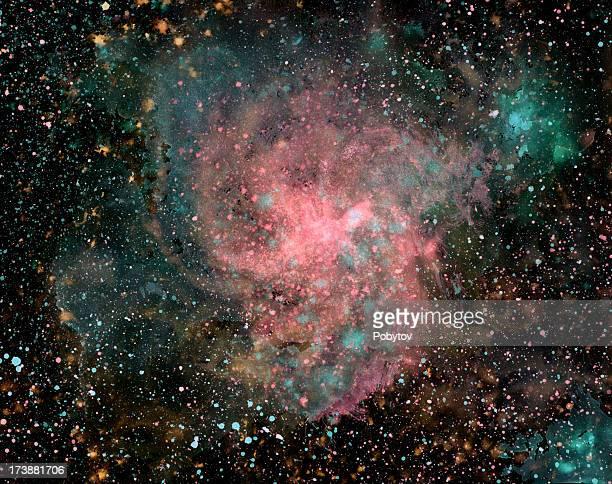 paint splatter image of nebula in galaxy - nebula stock illustrations