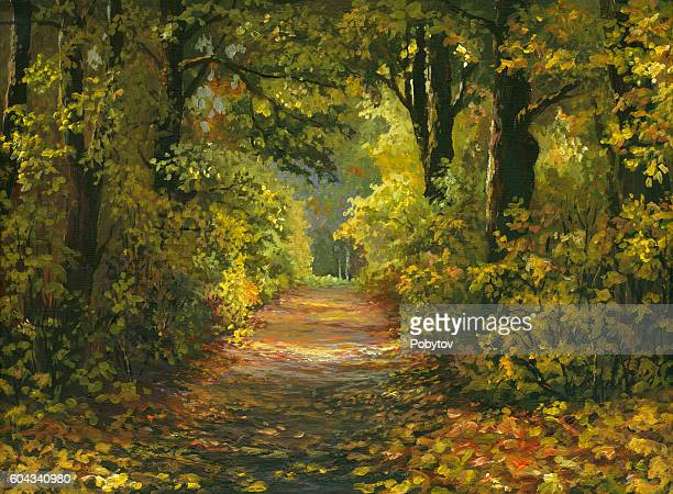 painted autumn alley - landscape stock illustrations, clip art, cartoons, & icons