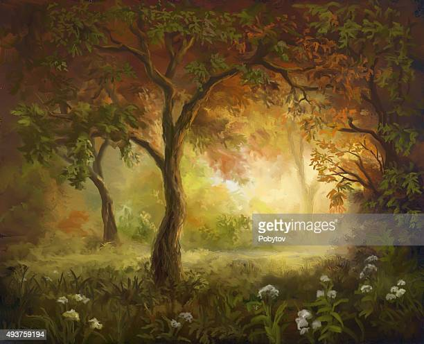 painted autumn - ethereal stock illustrations