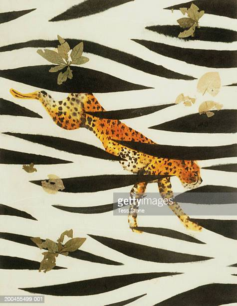 Painted collage of cheetah, leaves and zebra skin design