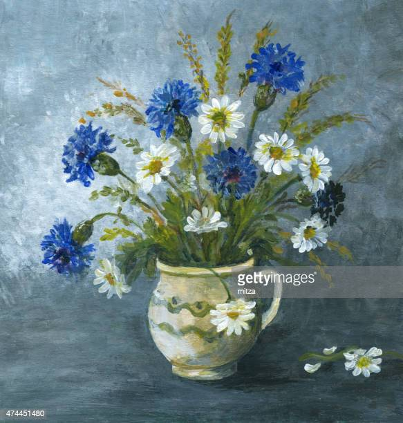 Painted corn flower and daisy arrangement in ceramic vase