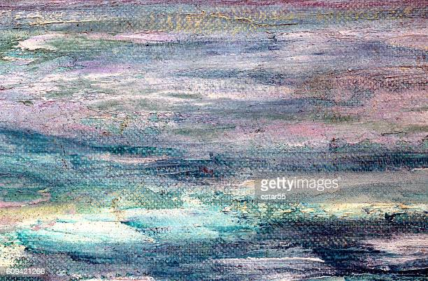 Painted pink turquoise aqua white and blue background on canvas