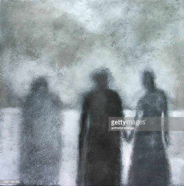 painted portrait of three shadows, black and white - jaded pictures stock illustrations