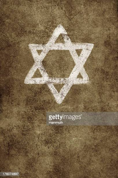 bildbanksillustrationer, clip art samt tecknat material och ikoner med painted star of david on old textured wall - davidsstjärna