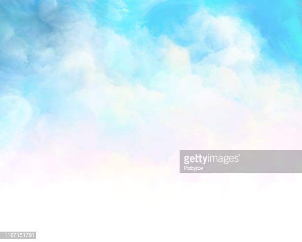 painted summer cloudy sky - cloud sky stock illustrations