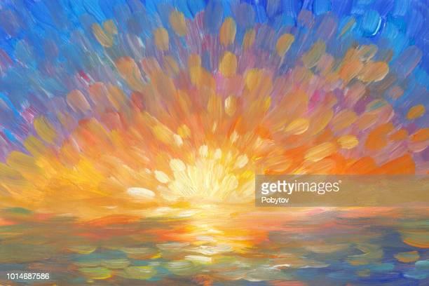 ilustraciones, imágenes clip art, dibujos animados e iconos de stock de pintar puesta de sol en el estilo del impresionismo - puesta de sol