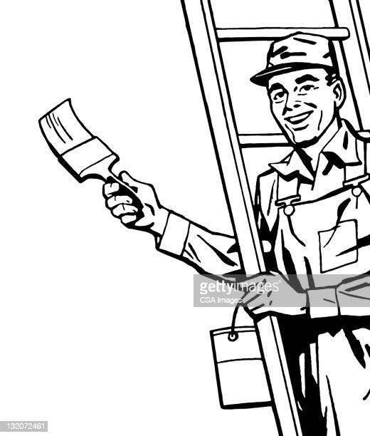 ilustraciones, imágenes clip art, dibujos animados e iconos de stock de pintor - pintores de brocha gorda