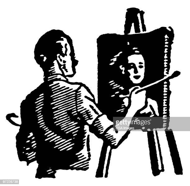 painter - one young man only stock illustrations