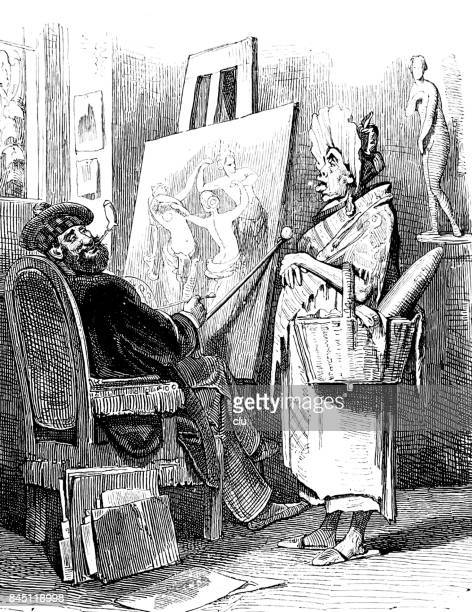 Painter in his studio and a woman with a basket talking to him