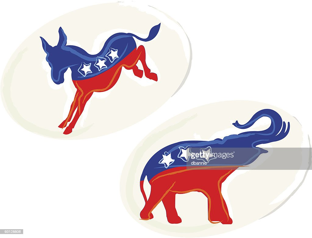 Painterly Republican and Democratic Stickers