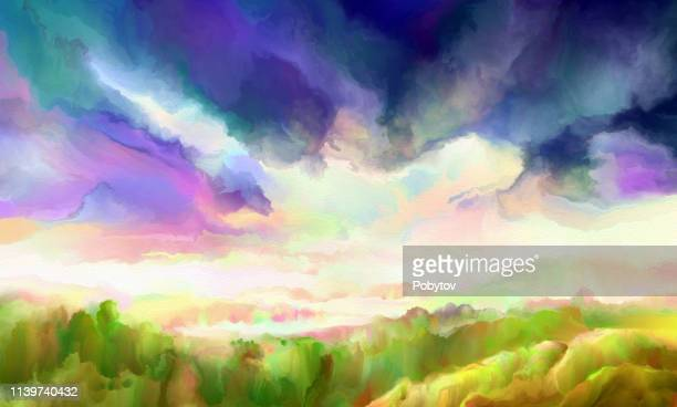 painting landscape, impressionism - afterlife stock illustrations, clip art, cartoons, & icons
