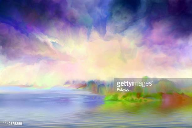 painting landscape, impressionism - heaven stock illustrations