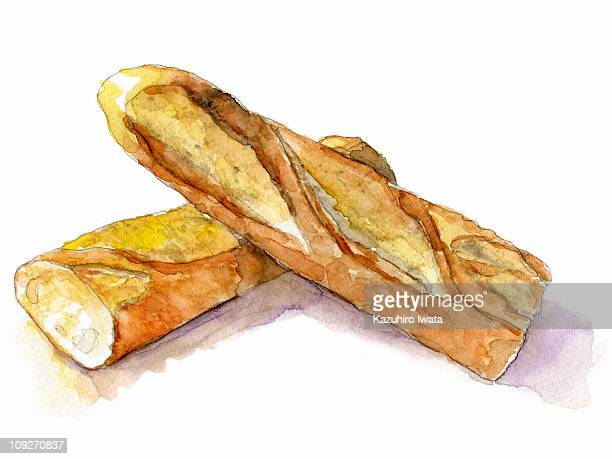 illustrations, cliparts, dessins animés et icônes de a painting of a baguette - baguette de pain