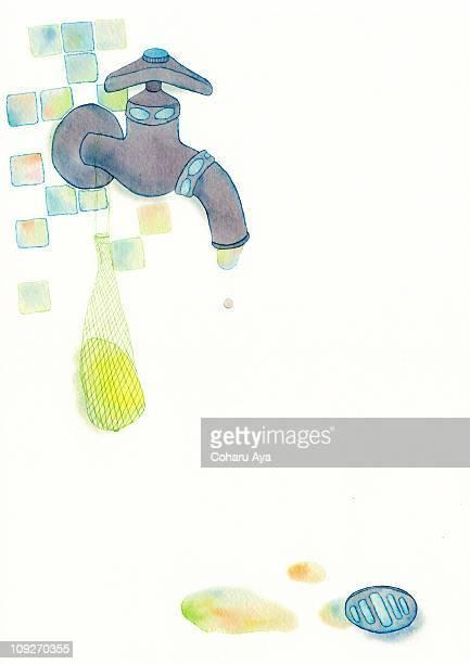 a painting of a bath tap - 水の無駄遣い点のイラスト素材/クリップアート素材/マンガ素材/アイコン素材
