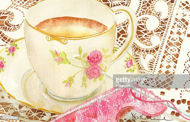 A painting of a cup of tea with knitting needles nearby