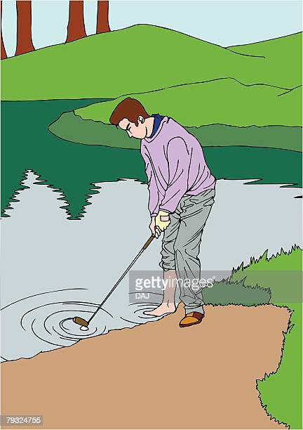 painting of a golf player trying to hit the ball out of pond, illustration - sand trap stock illustrations, clip art, cartoons, & icons