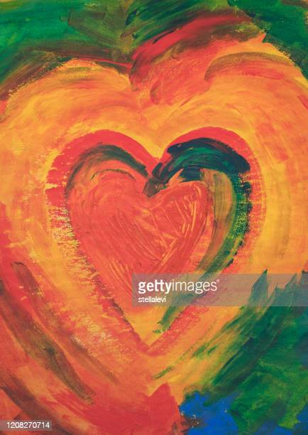 painting of a heart with acrylic colors - stellalevi stock illustrations