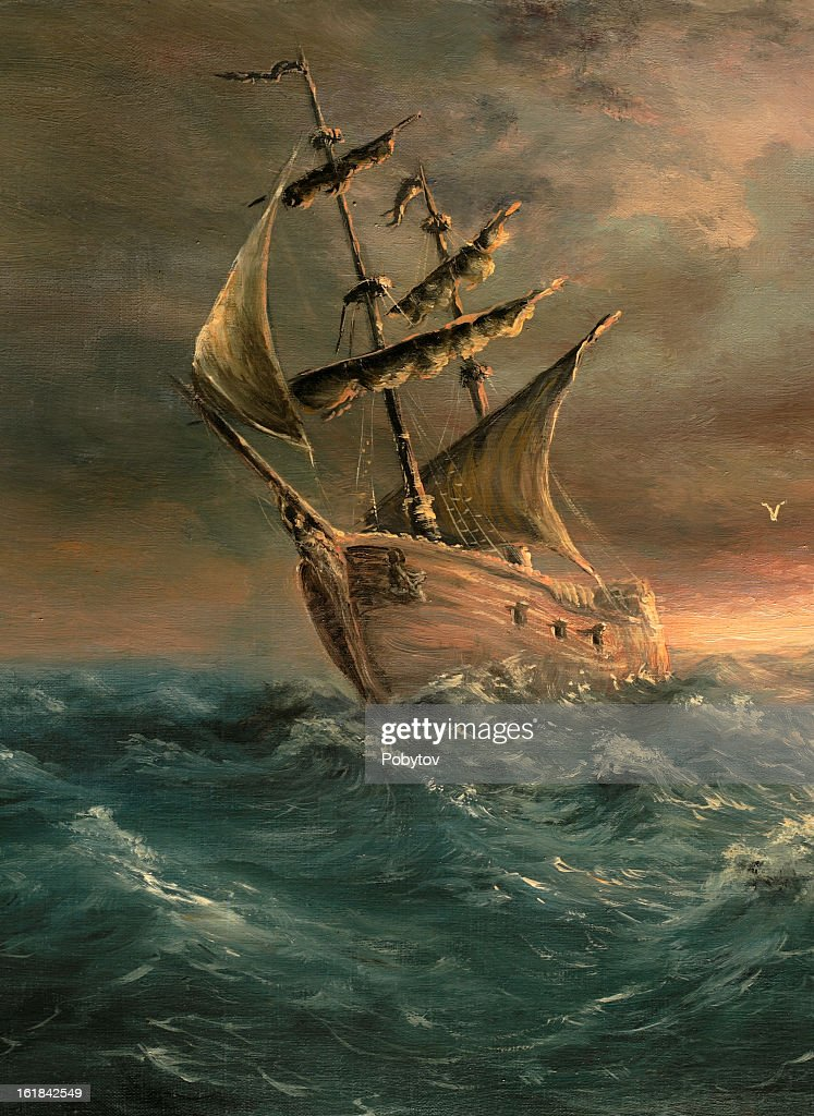 A painting of a ship that has just made it through a storm : stock illustration