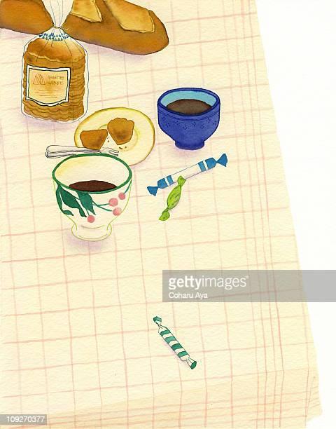 ilustrações de stock, clip art, desenhos animados e ícones de a painting of a tabletop with bread and coffee - mesa cafe da manha