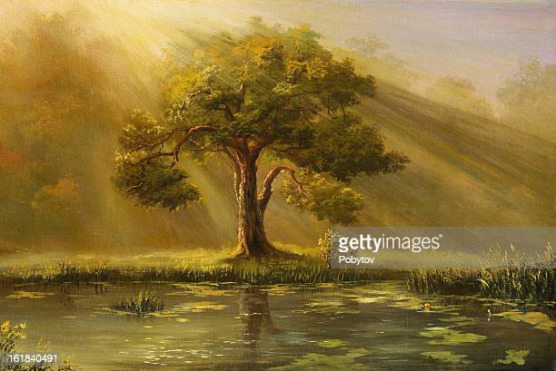 a painting of a tree in fog with a pond and grass - ancient stock illustrations