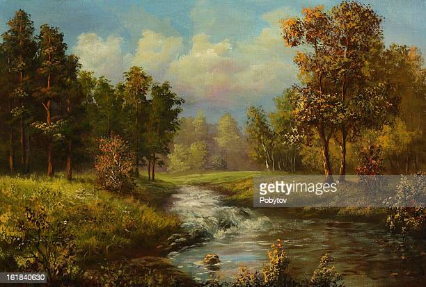 a painting of a warm autumn day - rural scene stock illustrations