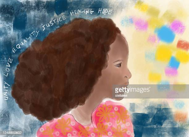 painting of a young african woman profile view - stellalevi stock illustrations