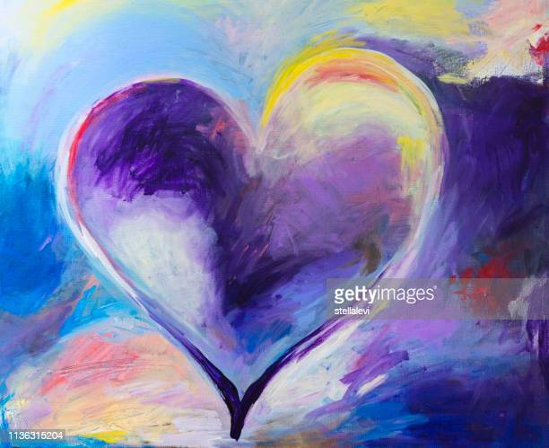 painting of abstract heart with acrylic colors - stellalevi stock illustrations