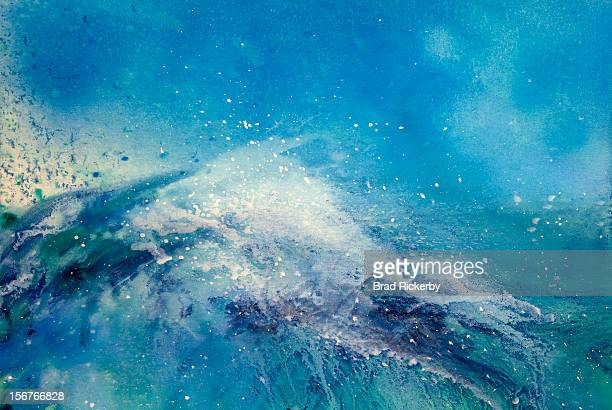 painting of an ocean wave - seascape stock illustrations, clip art, cartoons, & icons