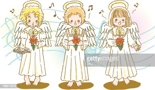 Painting Of Angels Singing Christmas Carol Illustration High-Res Vector Graphic - Getty Images