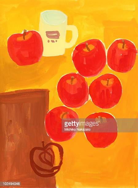 Painting of apples on table