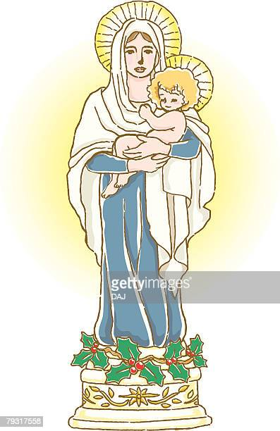 painting of blessed virgin mary and jesus christ, illustration - blessed mother mary stock illustrations