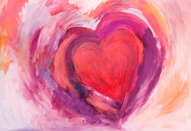 painting of heart with acrylic colors - heart shape stock illustrations