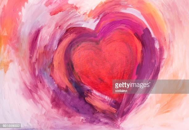 painting of heart with acrylic colors - painted image stock illustrations