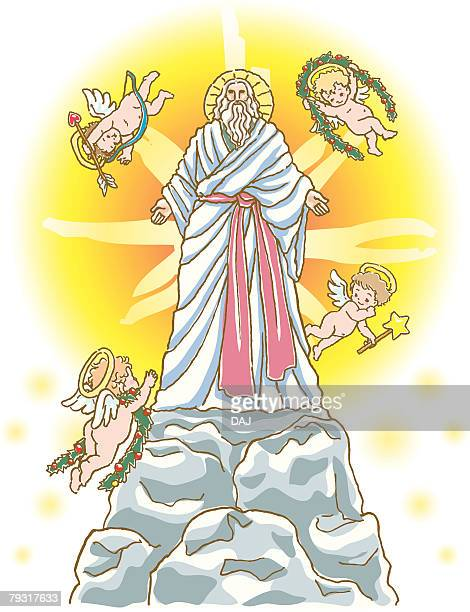Painting of Jesus Christ and angels Illustration