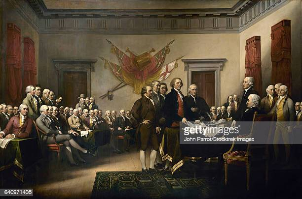 painting of leaders presenting the declaration of independence. - declaration of independence stock illustrations