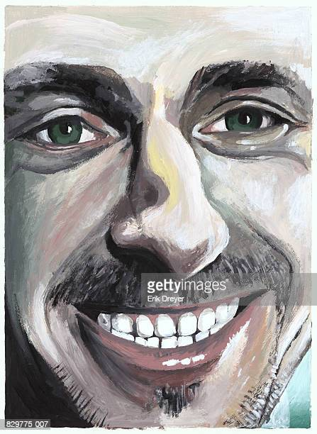 Painting of man smiling, portrait, close-up