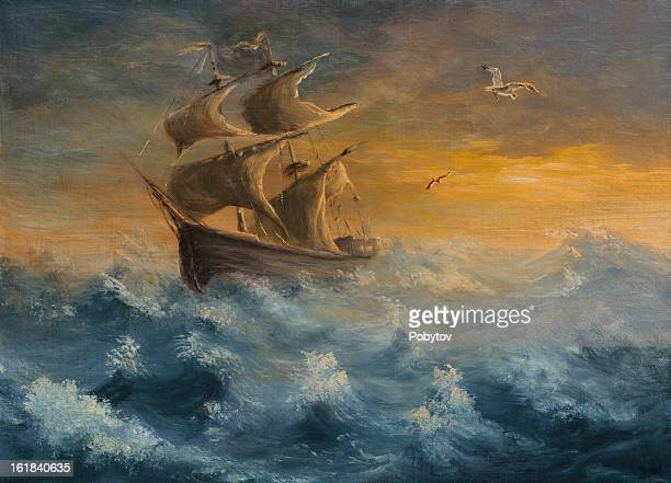 painting of old sailing ship in daylight and rough seas - sail stock illustrations, clip art, cartoons, & icons