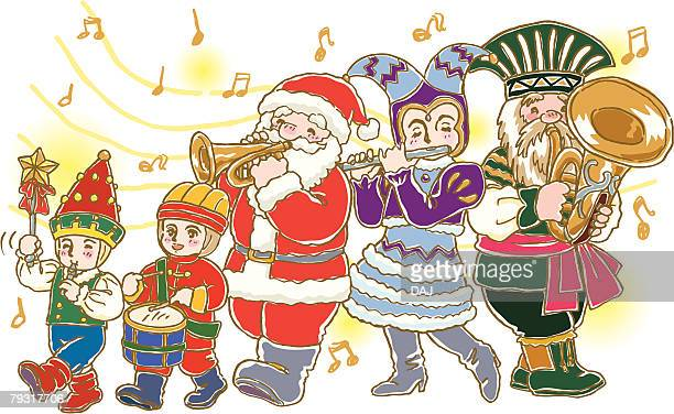 painting of parade with santa claus, illustration - parade stock illustrations