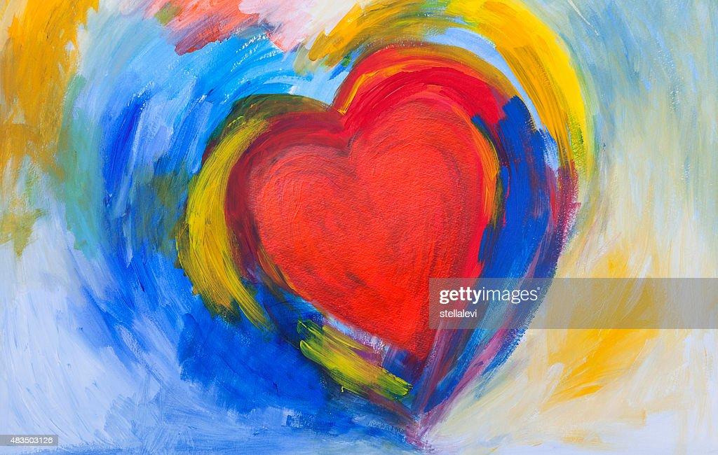 Peinture De Cœur Abstrait Rouge Et Bleu Illustration - Getty Images